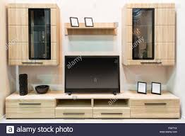 Wooden Tv Set Design Modern Wooden Furniture With Tv Set Stock Photo 89759374