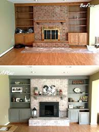 painting rock fireplaces fireplace ideas white painted stone brick on before after