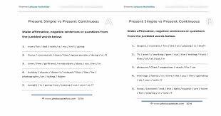 Present Simple and Present Continuous Jumbled Sentences Worksheet ...