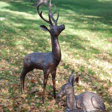 large stag and doe garden statues