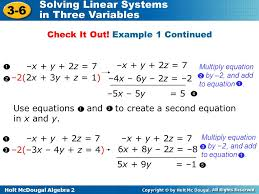 use elimination to solve the system of equations 16 check