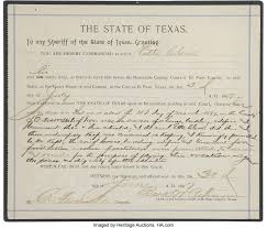 Sheriff's Warrant, Dated July 5, 1897, for the Arrest of Etta   Lot #98015    Heritage Auctions