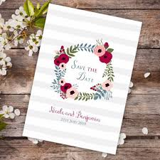 Red Save The Date Cards Red Floral Wreath Save The Date Card