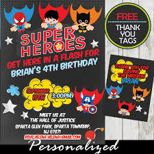 Personalized Superheroes Flying Superheroes Comic Birthday Invitation Personalized