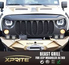 xprite beast front per grille with built in mesh for 07 17 jeep wrangler jk