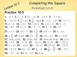 factoring to solve quadratic equations 32 completing the square lesson 10 7 practice 10 5