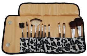 print 12 piece cosmetic makeup brush kit