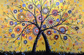 nature painting abstract modern flowers garden art flowering tree by amy giacomelli