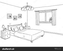 Graphy Bedroom Bedroom Black White Graphic Art Interior Stock Vector 470135492