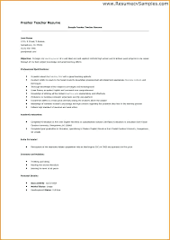 Sample Teacher Resume Fresher Teachers Resume Sample Invoice ...