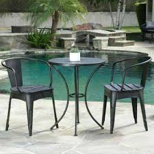 black with silver 3 piece metal round outdoor bistro set cast iron canadian tire n
