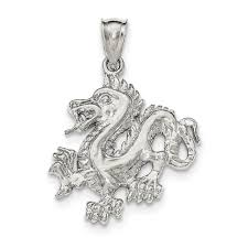 solid 925 sterling silver polished textured chinese dragon pendant com