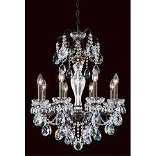 schonbek sonatina heirloom bronze eight light chandelier with clear heritage crystal