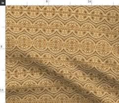 Arabic Pattern Fabric By The Yard Golden Royal Arabic Pattern