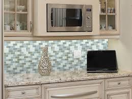image of blue glass tile kitchen backsplash