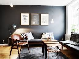 living rooms with dark grey feature walls