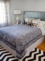 diy pinstripe bed skirt in eclectic bedroom