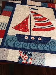 Nautical Boat Quilt Sailing Ship Baby Quilt in Blue and by shancee ... & Nautical Boat Quilt Sailing Ship Baby Quilt in Blue and by shancee Adamdwight.com