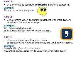 When Do I Use A Comma The Use Of Commas Rule 1 To
