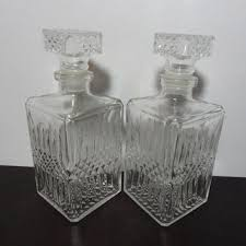 vintage clear cut glass matching liquor or wine decanters with d