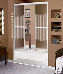 3 panel 59 glass tub shower door with mirror