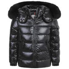 moncler girls black down padded bady fur jacket