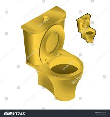 toilet made of gold. gold toilet bowl isometric illustration on white background sink - made of