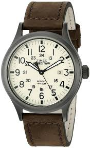 amazon com timex men s t49963 expedition scout brown leather amazon com timex men s t49963 expedition scout brown leather strap watch timex watches