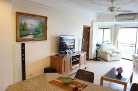 bedroom with tv and computer. View Talay 2 Building A Jomtien Large One Bedroom Condo For Rent With Sweeping Sea Tv And Computer