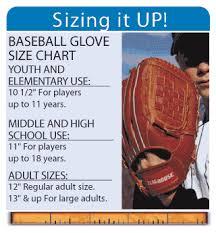 Baseball Glove Chart