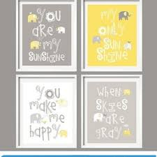 kids wall art yellow and gray nursery decor elephant prints you are my sunshine  on yellow and grey wall art nursery with baby girl nursery decor whale family from yassi s place