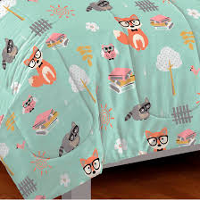 woodland friends forest animals twin comforter set bed in a bag mint