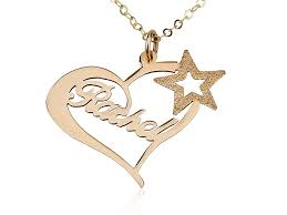yellow gold heart name necklace w a star persjewel