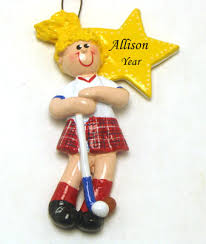 Field Hockey Girl (Blonde hair) -Personalized Christmas Ornament w/ Painted  Finished Back