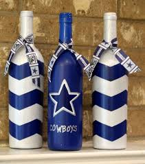 dallas cowboys wine bottles football decor by theancdelephant