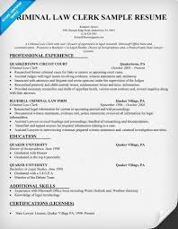 Law Clerk Sample Resume
