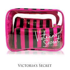 authentic victoria s secret 3pcs cosmetic pouch set black stripe