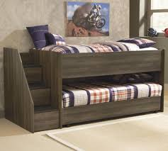 Twin Loft Bed w Left Storage Steps & Twin Caster Bed by Signature