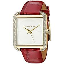 new michael kors mk2623 lake gold tone red leather strap sparkling 38mm watch