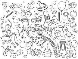 幼稚園設計無色はベクター グラフィックを設定します塗り絵黒と白のライン アート