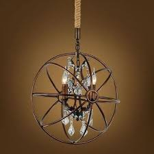 foucault s orb clear crystal chandelier 16 5 rustic iron globe ceiling lamp