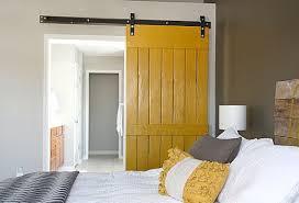 yellow interior barn door for bedroom