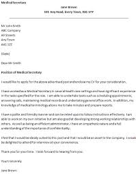 cover letter for a medical secretary secretary cover letter example