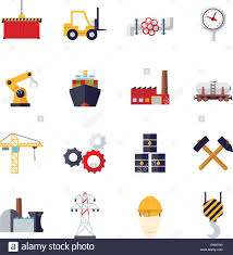 Design And Industry Collection Of 16 Flat Design Industry Themed Vector Icons