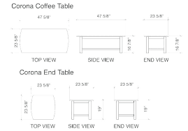 standard coffee table size rules side height of dimensions bedside