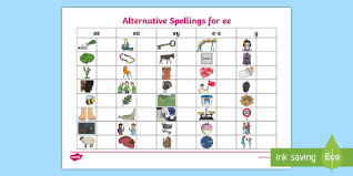 The alternative pronunciation of i, o, e, u, c, g, ow, ie, ea,er, y, ch and ou. Alternative Spellings Ee Ey And E E Table Worksheet