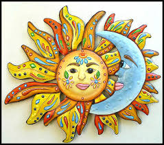 on outdoor metal wall hanging with sun metal wall art garden art 34 painted metal wall
