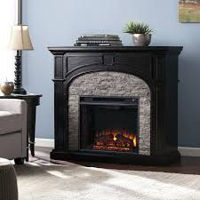 stone electric fireplace blvd ebony and gray stacked faux stone electric fireplace black stone effect electric