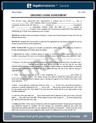 Lease Agreement Example Ground Lease Agreement Print Download Legal Templates