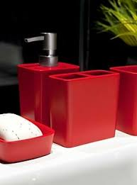 black and red bathroom accessories. Sleek Red Resin Accessories - Bathroom | Simons Black And